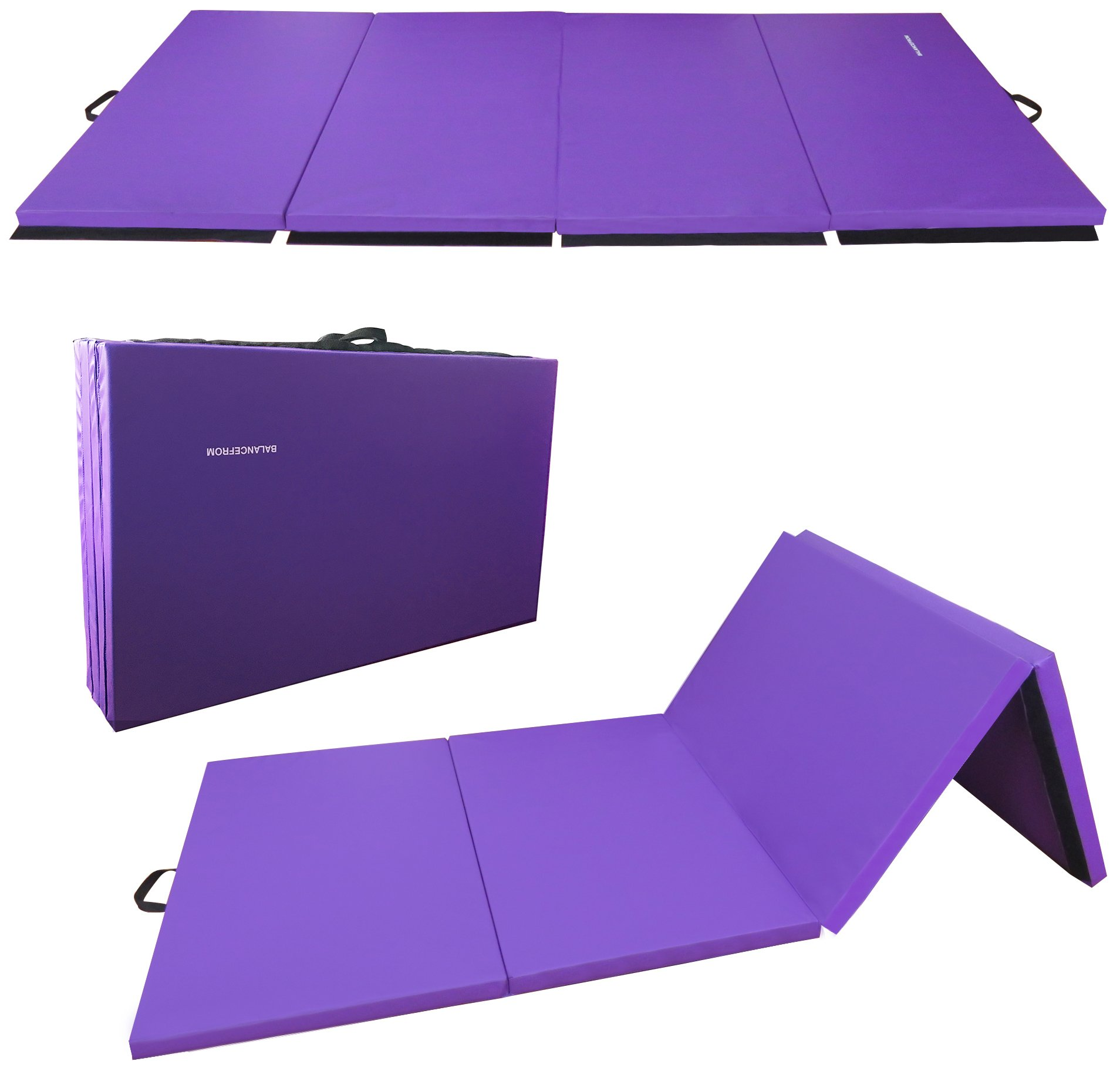 BalanceFrom BFGR-01PP All-Purpose Extra Thick High Density Anti-Tear Gymnastics Folding Exercise Aerobics Mats, 4' x 10' x 2''