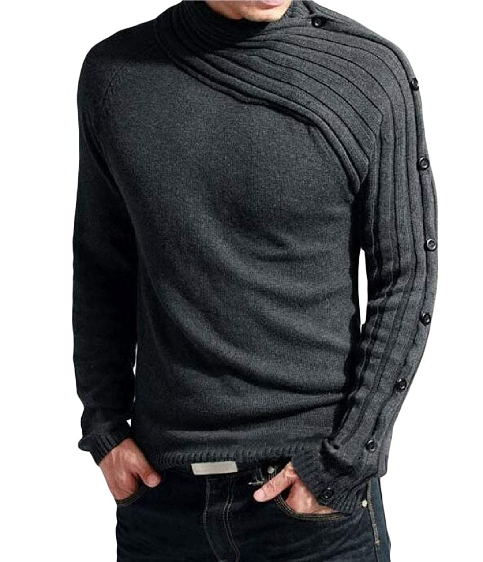 Cromoncent Mens Slim Knitted Pullover Round Neck Button Jumper Sweaters