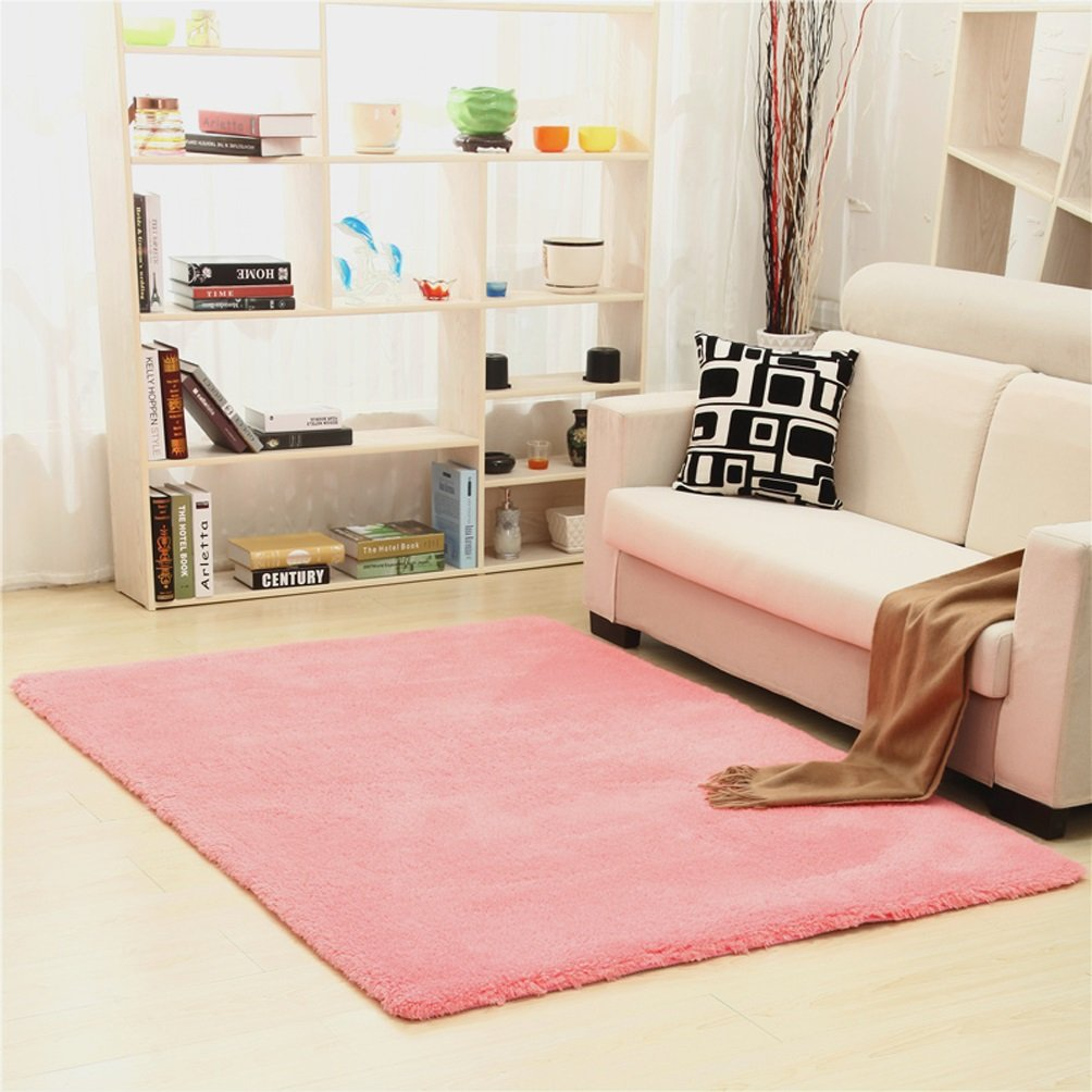 WAN SAN QIAN- Children Bedroom Carpet Nordic Carpet Living Room Carpet Sofa Europe Princess Rectangle Blended Carpet Coarse Shag Rug Rug ( Color : Pink , Size : 160x200cm )