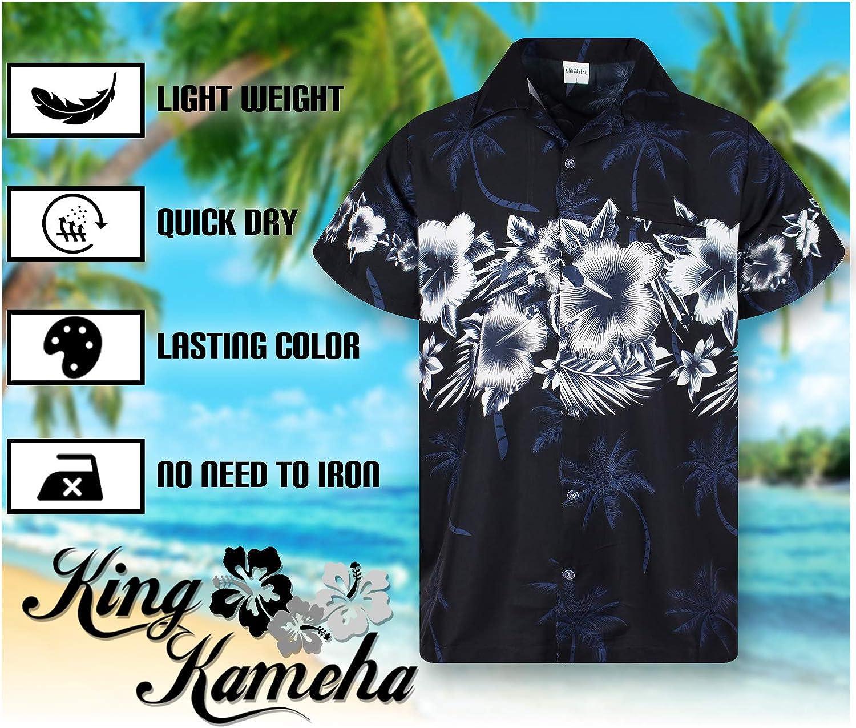 Fiori Stampa sul Petto 6XL Tasca Frontale King Kameha Funky Camicia Hawaiana da Uomo Maniche Corte XS Stampa Hawaiana
