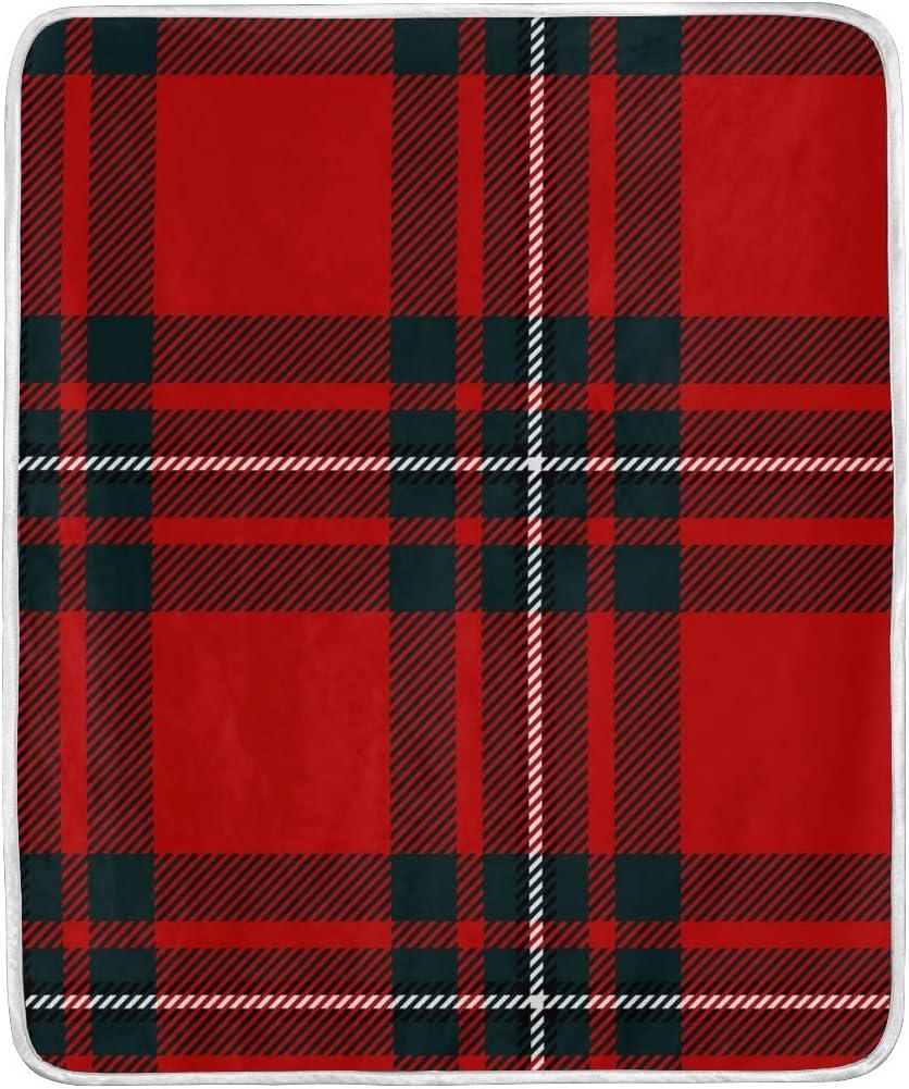 Manta de cuadros escoceses para sofá, silla, cama, oficina, viajes, camping, tamaño de manta para niños de 127 x 152 cm
