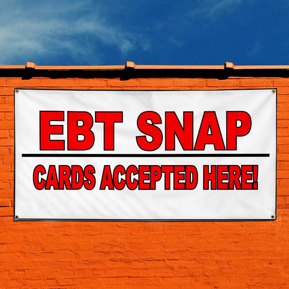 One Banner Multiple Sizes Available 44inx110in 8 Grommets Vinyl Banner Sign Ebt Snap Cards Accepted Here White Marketing Advertising White