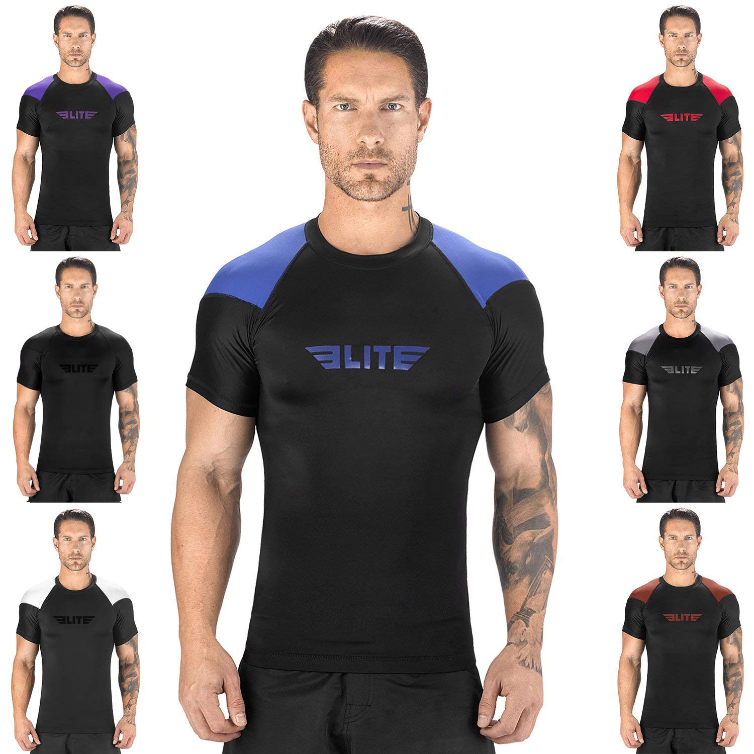 Elite Sports New Item Standard Short Sleeve Compression, MMA, BJJ, No-Gi, Cross Training Rash Guard (Blue, Small)