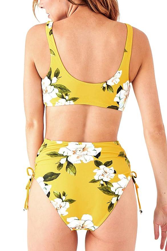 42ac5cf9f8 Amazon.com: CUPSHE Women's Sunny Floral Lace up High-Waisted Bikini:  Clothing