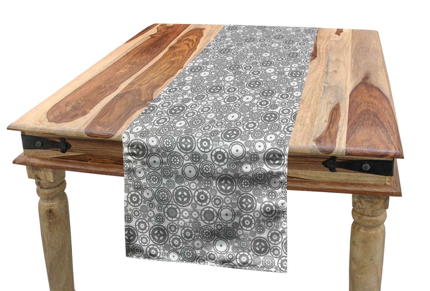 16 W X 72 L Inches Dining Room Kitchen Rectangular Runner Different Types and Sizes of Cogwheels Illustration Factory Engineering Theme ABAKUHAUS Steampunk Table Runner White and Grey