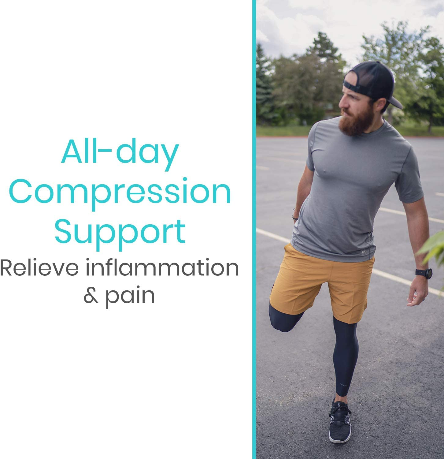 Vive Leg Sleeves (Pair) - Compression Knee, Calf and Thigh Support for Running, Basketball, Crossfit, Weight Lifting, and Sports - Knee Wrap Improves Circulation, Helps Arthritis : Sports & Outdoors