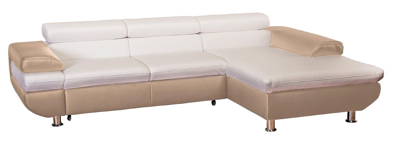 Cavadore 5011 Polsterecke Caponelle, 3-er Bett mit Kopfteilverstellung, Longchair, 279 x 72 - 88 x 177 cm, Kunstleder Bison, taupe / pure weiß