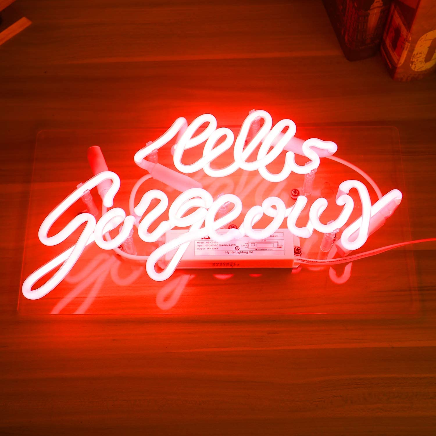 Pink Hello Gorgeous Neon Sign Man Cave Room Decor Night Light Love Gifts Real Glass Hand Made 14.5