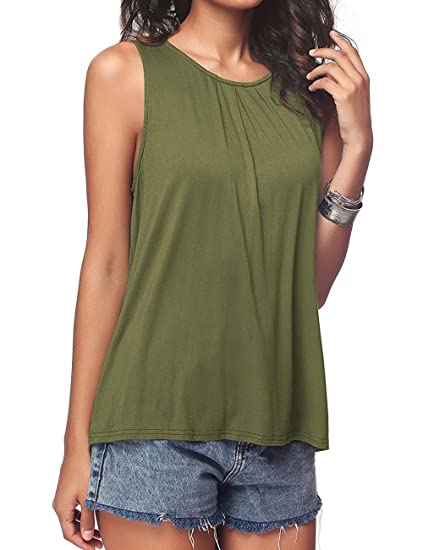 2df623b40c Ypser Women s Pleated Tank Tops Basic Back Button Sleeveless Scoop Neck  Blouse Army Green