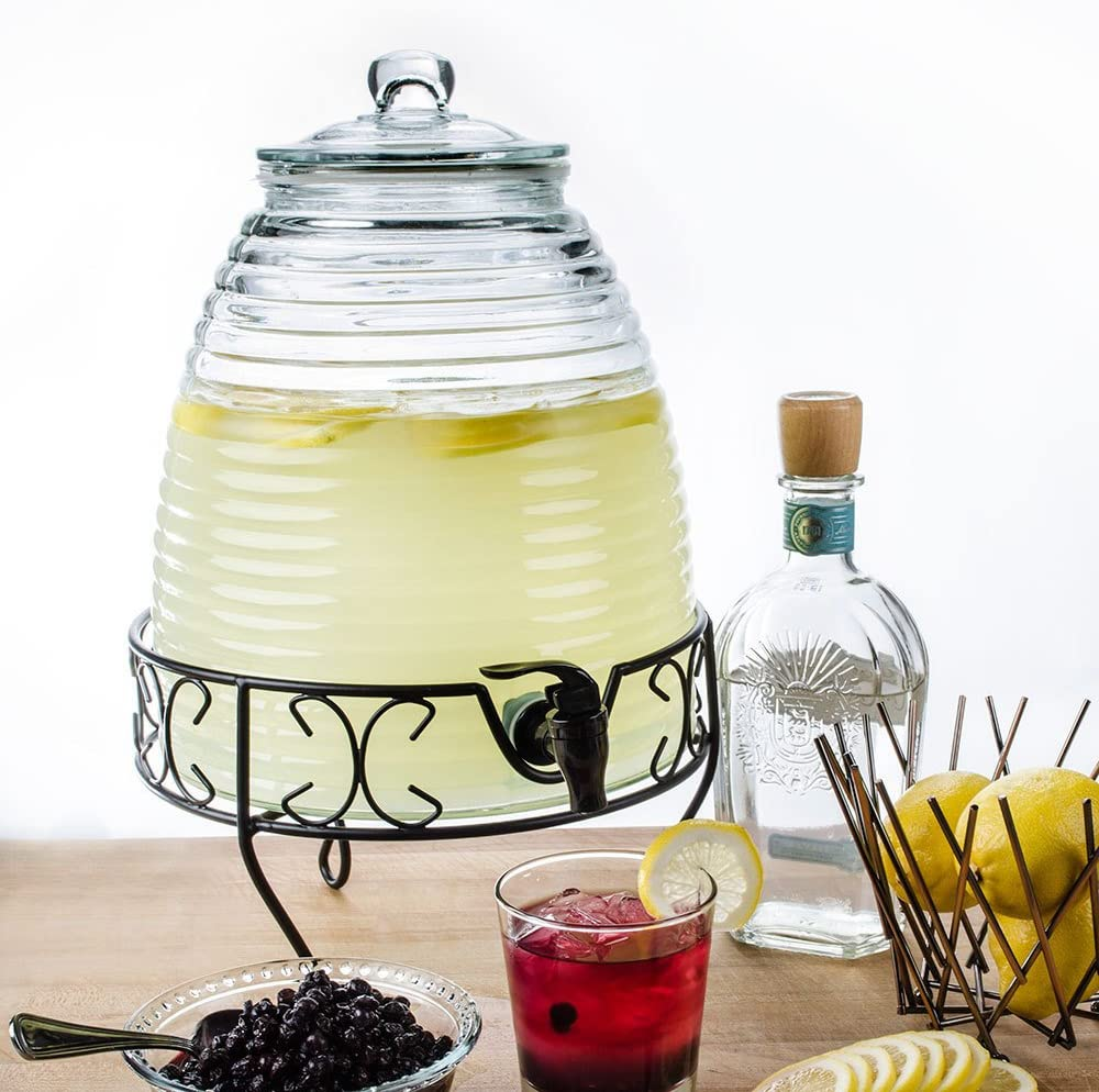2.4 Gallon Glass Bee Hive Beverage Drink Water Ice Tea Dispenser Metal Stand