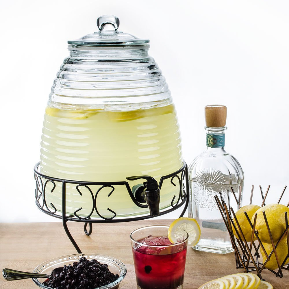Beehive Glass Beverage Dispenser With Stand - 2.4 Gallon Drink Dispenser
