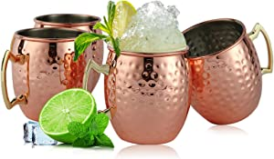 Copper Mule Mugs Set of 4, Moscow Creative Hammer Point Copper Cups with Stainless Steel Inner and Copper-plated Outer for Beer and Cocktail