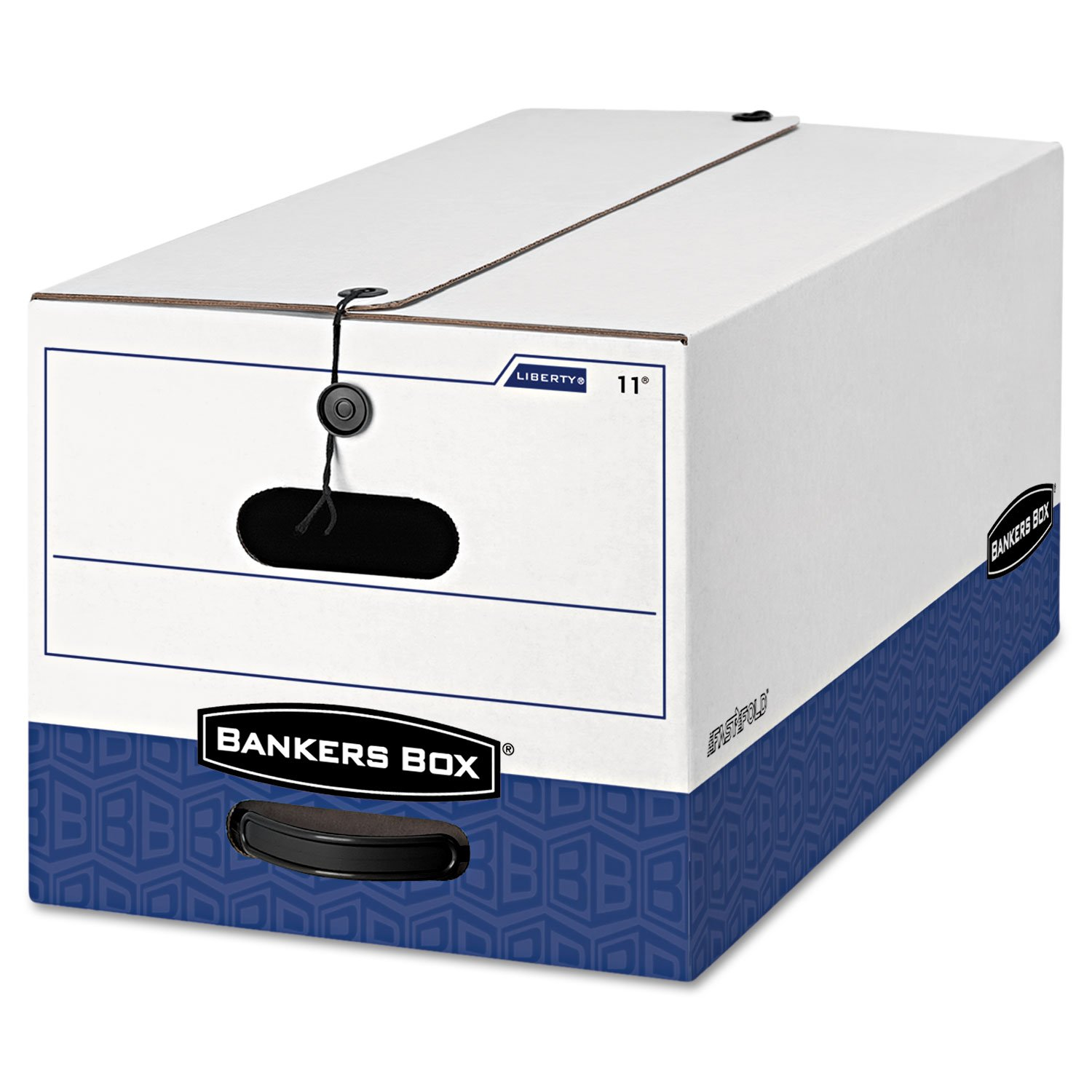 Bankers Box® - Liberty Max Strength Storage Box, Letter, 12 x 24 x 10, White/Blue, 12/Carton - Sold As 1 Carton - Maximum security box with string & button closure keeps contents secure, even if box is overturned.