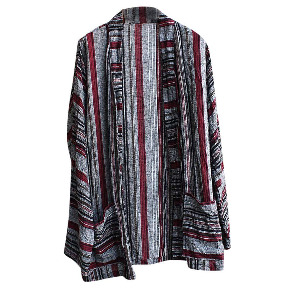 Mens Striped Shirts Printed Long Sleeve Loose Fit Tee Open Up Fashion Casual Shirt Wine by Doad T-Shirt