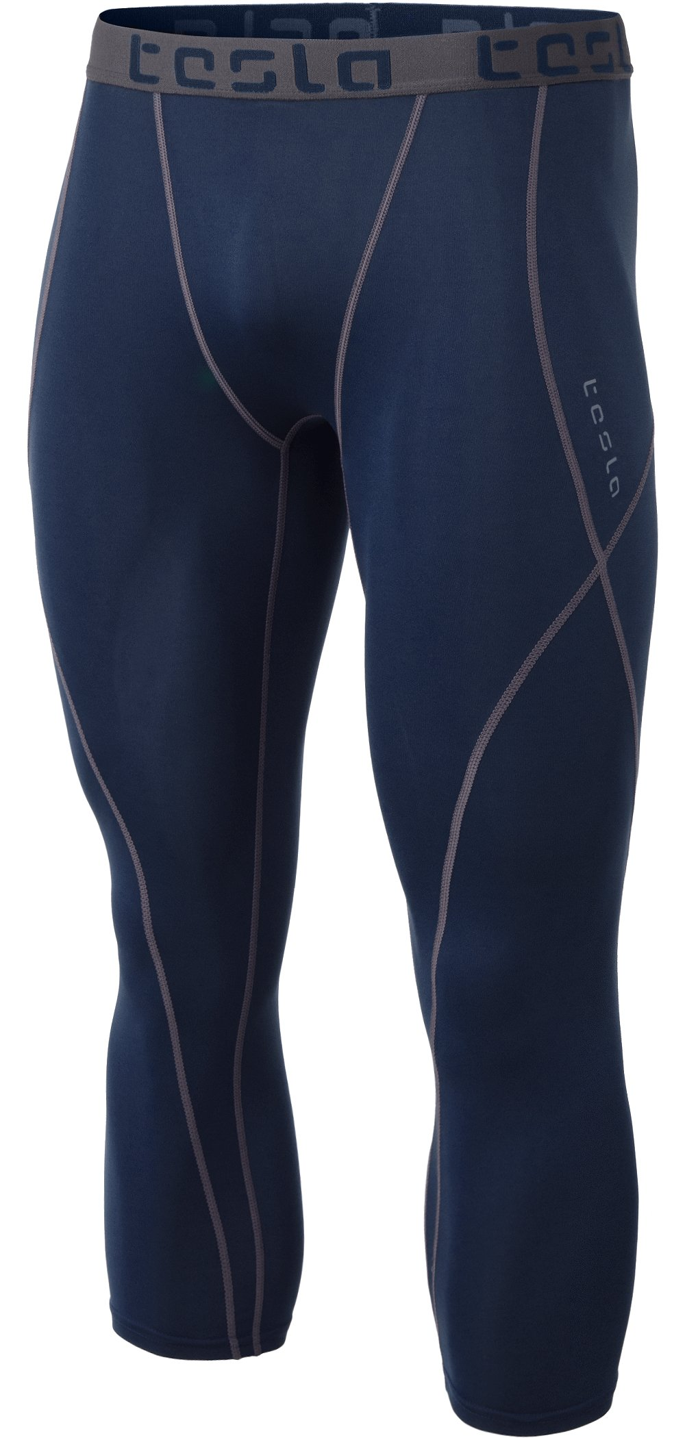 TSLA Men's Compression 3/4 Capri Pants Baselayer Cool Dry Sports Running Yoga Tights, Atheltic(muc18) - Navy, Small by TSLA