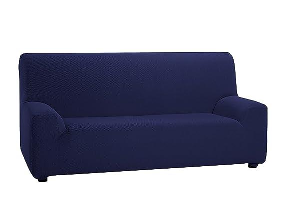 Texturas VIP- Funda de sofá Elástica Low Cost (Varios tamaños Disponibles) (Trío_3_+_1_+_1, Azul)