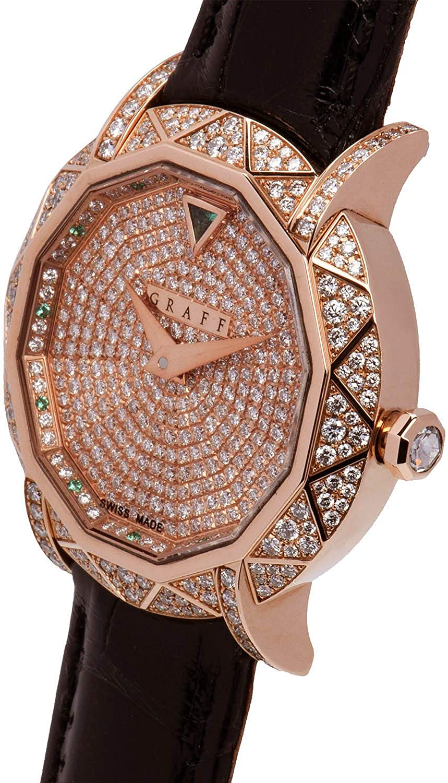 Graff Diamond Watch 30mm Ladies Size Rose Gold Haute Joaillerie Pavee Diamonds