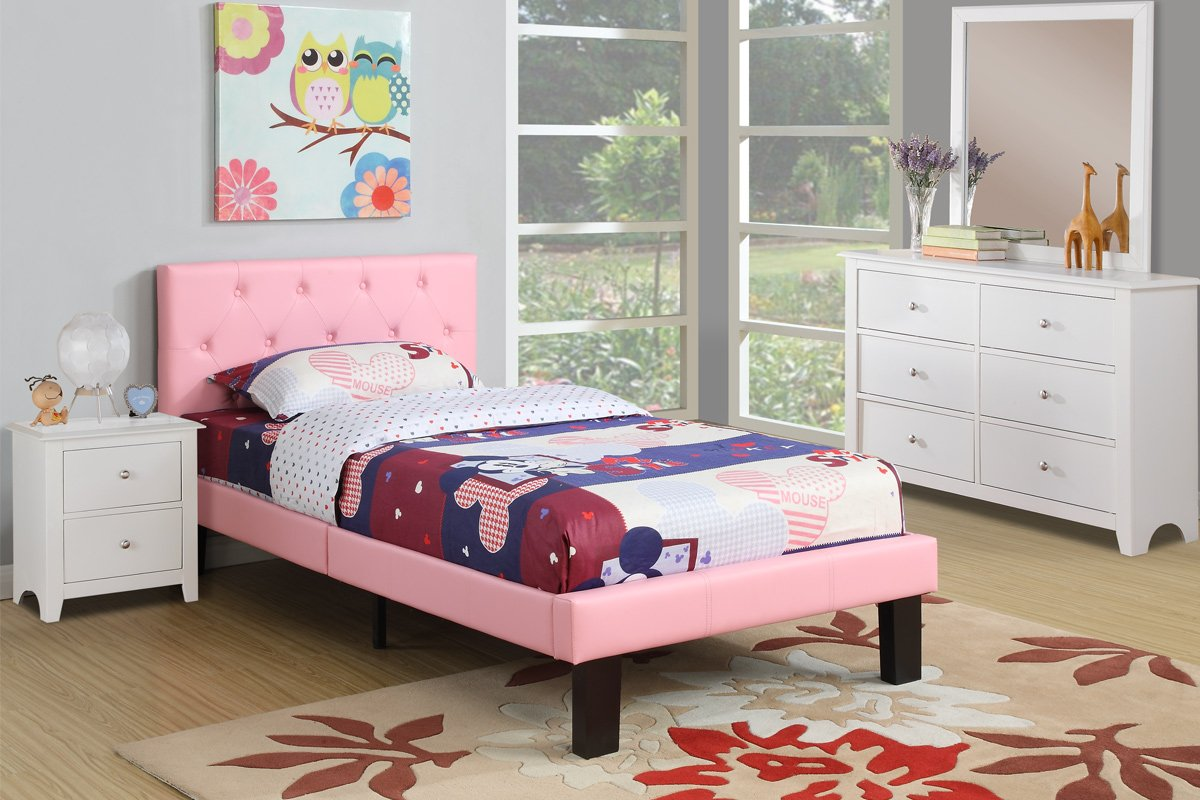 Amazon.com: Poundex PU Upholstered Platform Bed, Twin, Pink: Kitchen ...