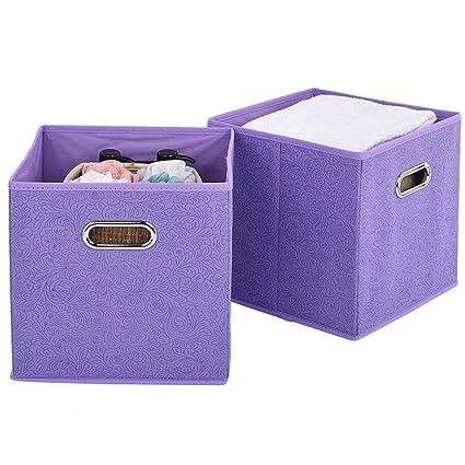 VCCUCINE Foldable Cloth Fabric Cubes Storage Bins 2 Packs Light Purple Storage Drawers Cube Basket  sc 1 st  Amazon.com & Amazon.com: VCCUCINE Foldable Cloth Fabric Cubes Storage Bins 2 ...