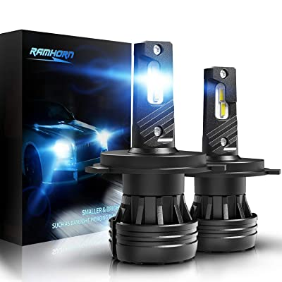 RAMHORN H4 LED Headlight Bulbs,360 Degree Adjustable Beam 10000Lm 6500K Cool White CREE Chips 9003 Conversion Kit of 2: Automotive