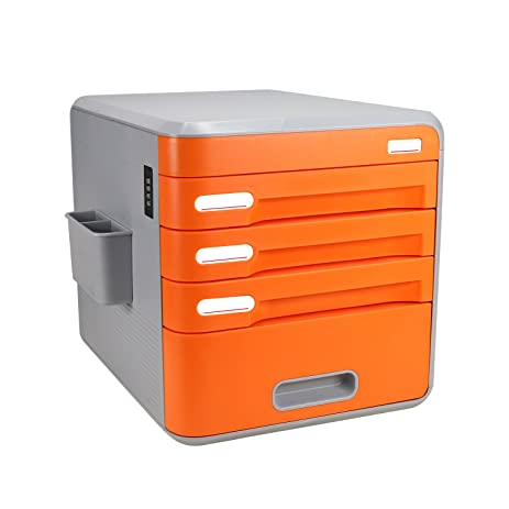 FINE DRAGON A1 4 Drawer Desktop File Cabinet With Combination Lock And  Pencil Organizer Functional