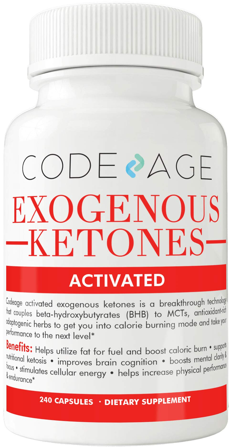 Codeage BHB Exogenous Ketones Supplement Pills, with BHB Salts as Exogenous Ketones, Electrolytes and Caffeine, 240 Capsules by Code Age