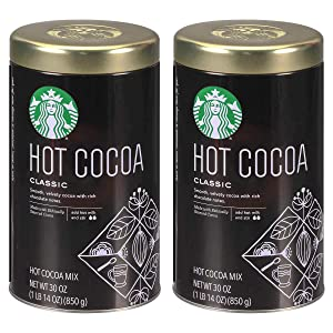 Starbucks Classic Hot Cocoa Mix 30 Ounce (1.87 lbs.) Tin (2 Pack)