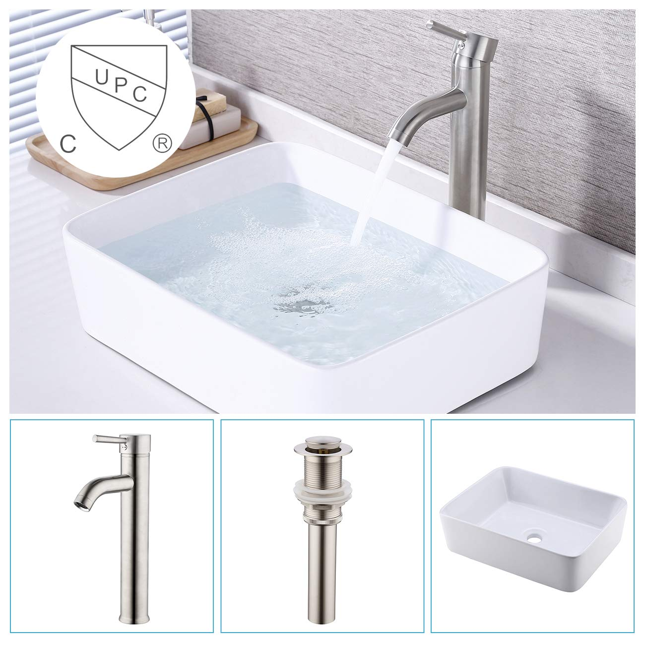 KES Bathroom Vessel Sink and Faucet Combo Bathroom Rectangular White Ceramic Porcelain Counter Top Vanity Bowl Sink Brushed Nickel Faucet, BVS110-C2
