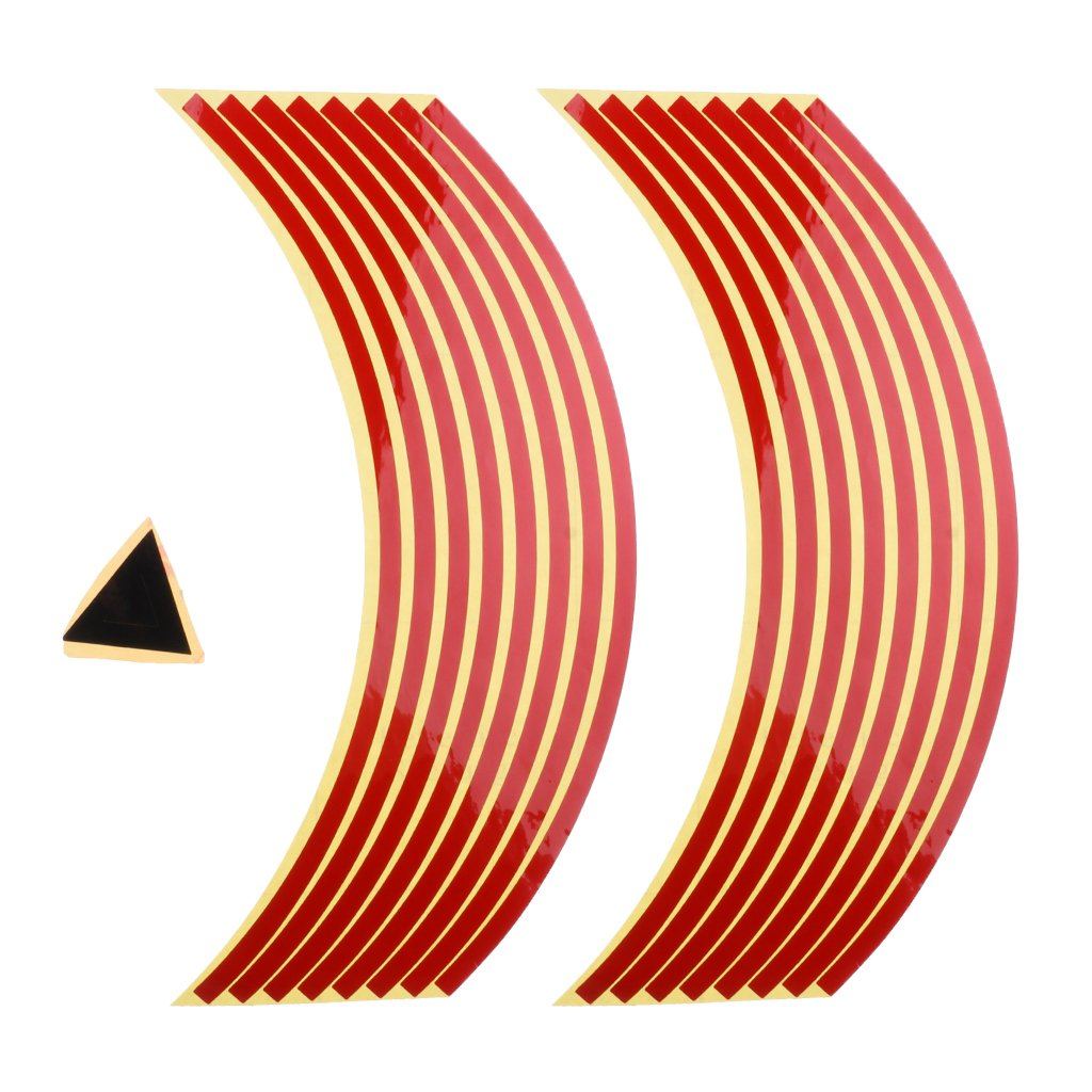 Homyl Reflective Rim Tape Wheel Stripe Decal Trim for Motorcycle wheels 17'' Car wheels 16''-18'' - Red