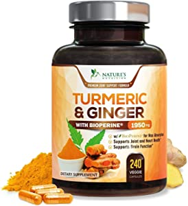 Turmeric Curcumin 95% Curcuminoids with BioPerine and Ginger 1950mg - Black Pepper for Best Absorption, Made in USA, Best Vegan Joint Support, Turmeric Ginger Supplement Pills - 240 Capsules