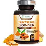 Turmeric Curcumin with BioPerine & Ginger 95% Curcuminoids 1950mg - Black Pepper for Absorption, Made in USA, Natural Immune