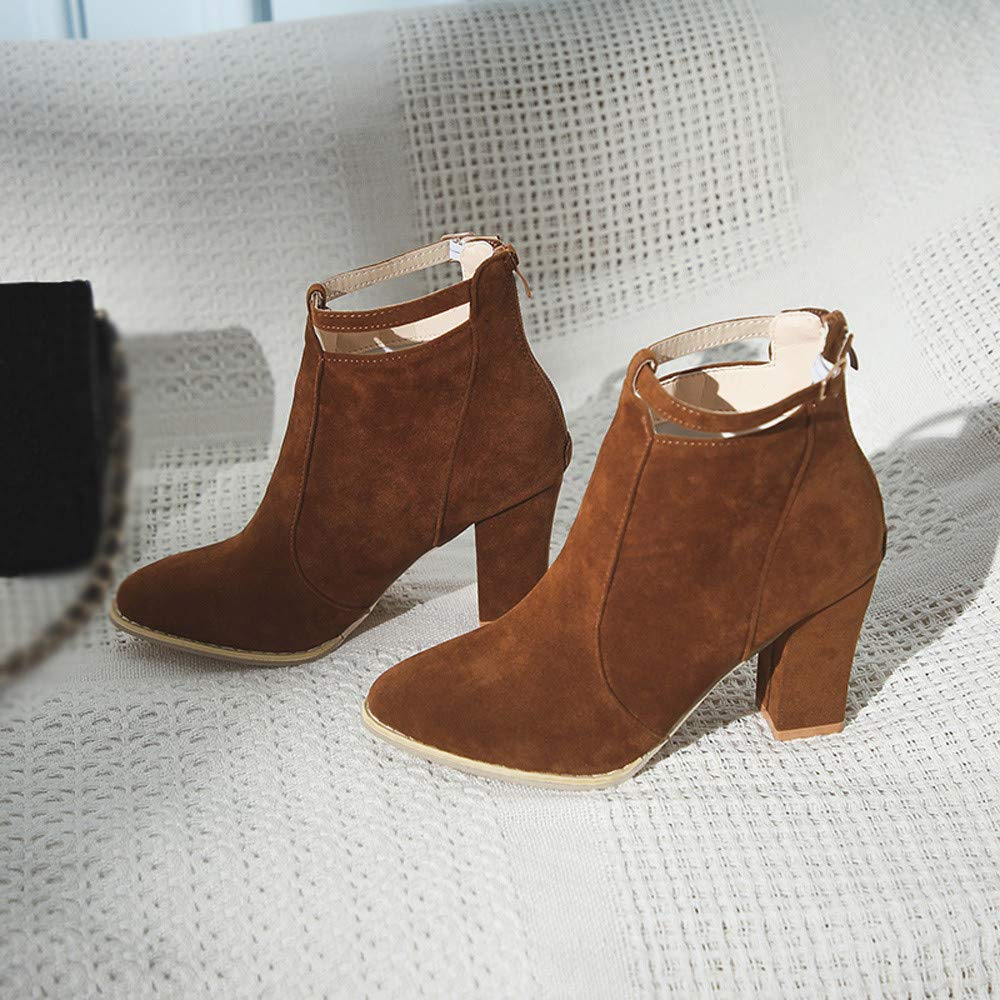 Amazon.com | FORUU Women Flcok Ponited Toe Boots Ankle Boots High Heels Buckle Strap Martin Shoes | Shoes