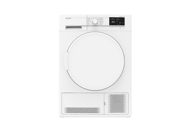 SHARP KD-GCB8S7PW9-DE Kondenstrockner / 8 kg / Weiß / B / BubbleDrum-Schontrommel / Shirts 12' / Knitterschutz / Startzeitvorwahl bis 23 Std. / Sensor Trocknung