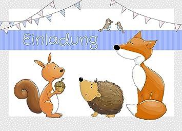 10 Einladungskarten Zum Kindergeburtstag U0026quot;Waldtiereu0026quot; A6 /  Einladung Für Kinder / Einladung Waldtiere