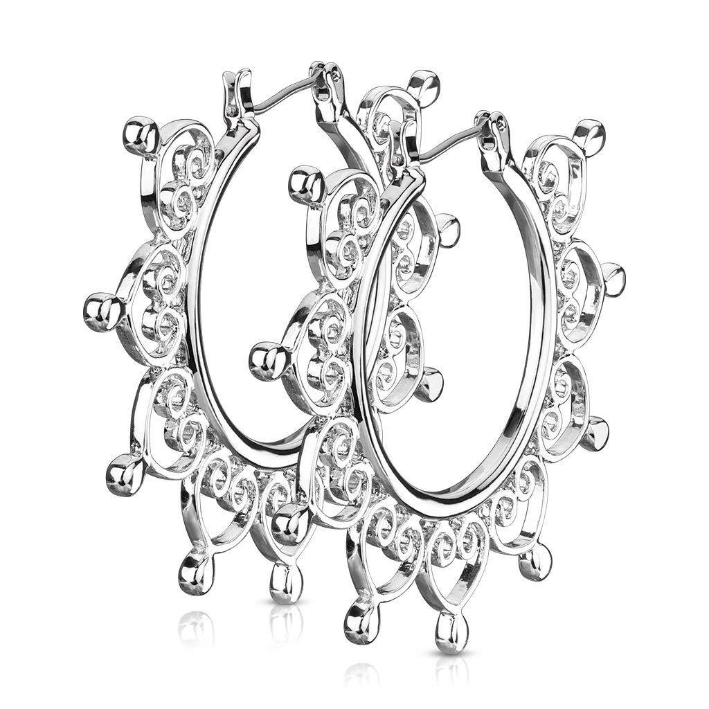 2 Inch Vintage Silver Tone Brass Heart Filigree Hoop Earrings, Surgical Steel Post by Forbidden Body Jewelry