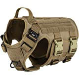 ICEFANG Tactical Dog Harness,Hook and Loop Panels for Patch,Working Dog MOLLE Vest with Handle,No Pulling Front Leash Clip,6