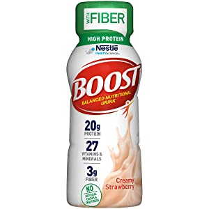 BOOST High Protein with Fiber Complete Nutritional Drink, Creamy Strawberry, 8 Ounce Bottle (Pack of 24)