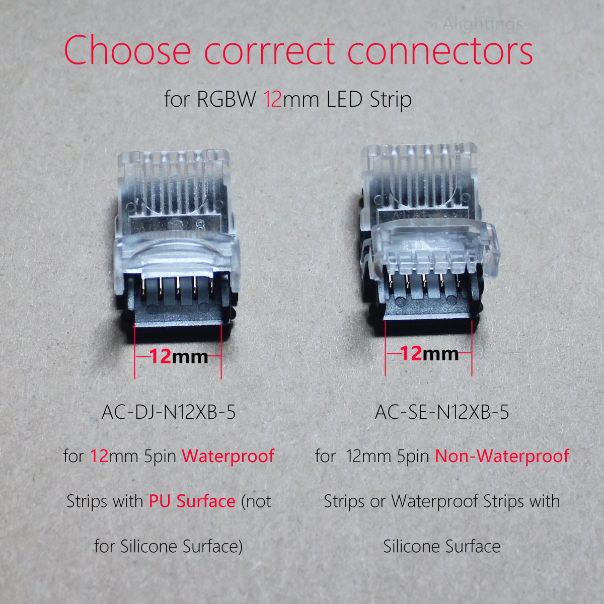 Alightings LED Connector 5 Pin for 12mm RGBW Waterproof LED Strip ...
