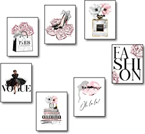 7PCS Fashion Pink Wall Decor Paintings for Bedroom Teen Girls Posters Beauty Canvas Wall Art Picture Unframed for living Room Modern Decorations 8x12 Inch