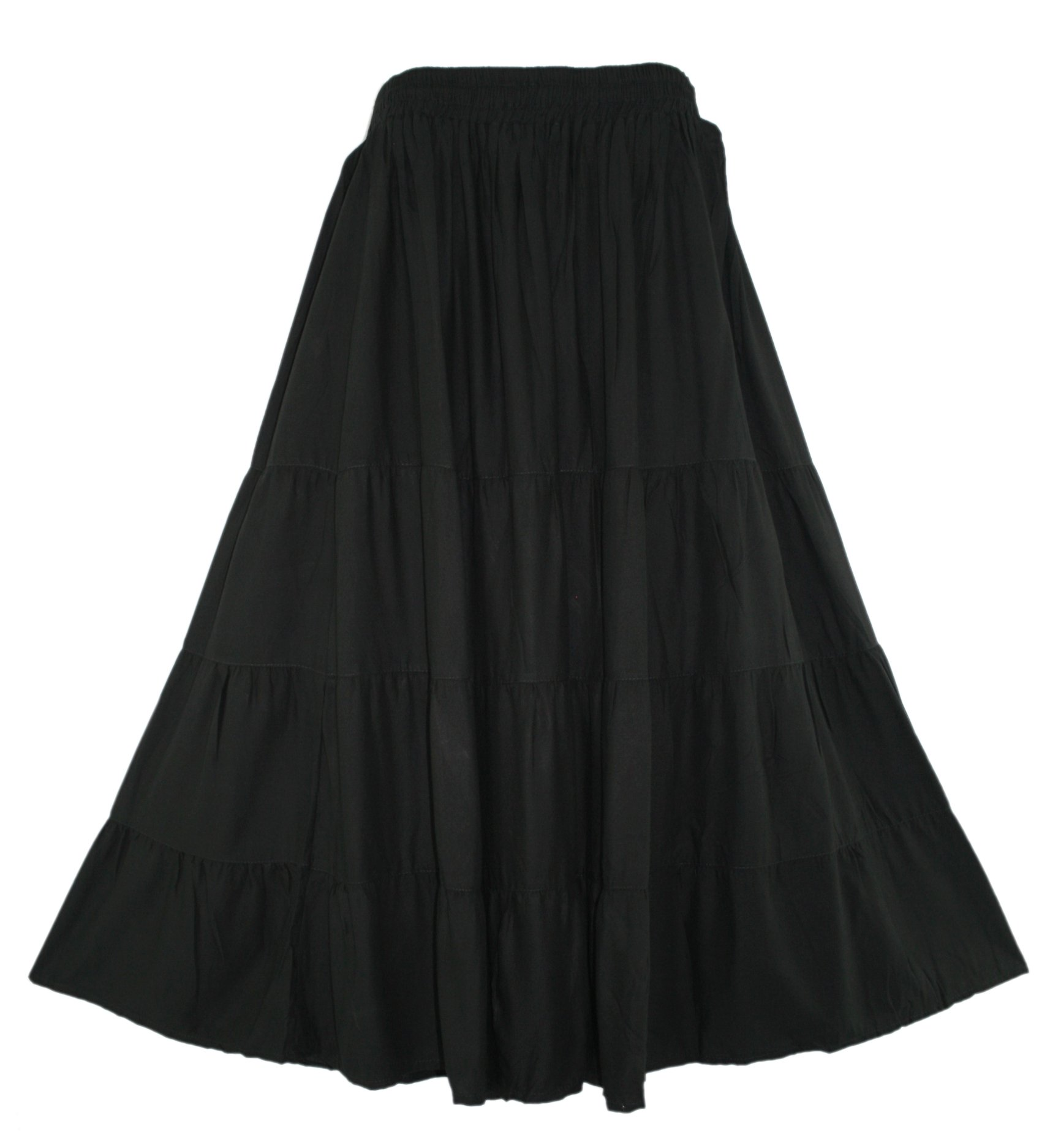 Beautybatik Black BOHO Gypsy Long Maxi Tiered Skirt 1X