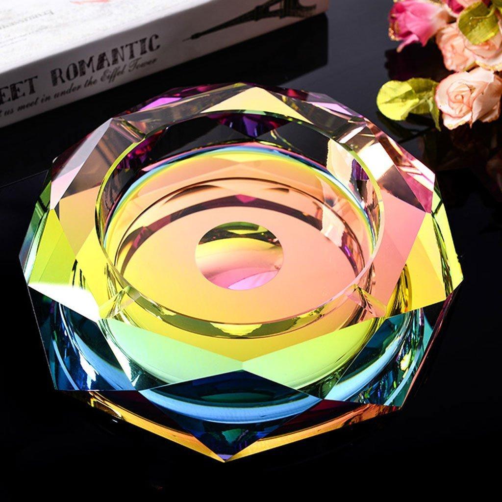 Cendrier Éliminateur d'odeur portable pour l'extérieur et l'intérieur, Bon cadeau pour les hommes et les femmes Personnalité de la mode créative Style européen de grand cendrier en verre KTV en cristal (taille: 15C