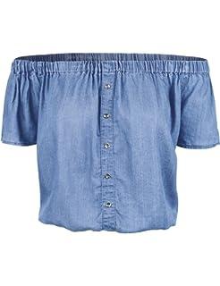 0f710a4cb65 makeitmint Women s Tencel Denim Short Sleeve Off Shoulder Blouse Top  w Buttons