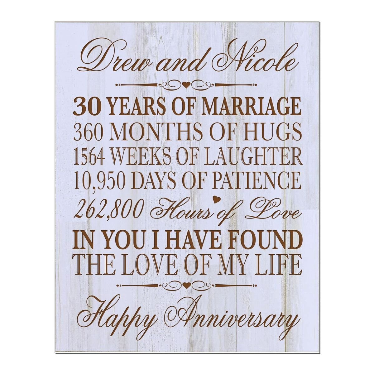 LifeSong Milestones Personalized 30th Wedding for Couple, Custom Made 12 Inches Wx 16 Inches H (Distressed Wood)