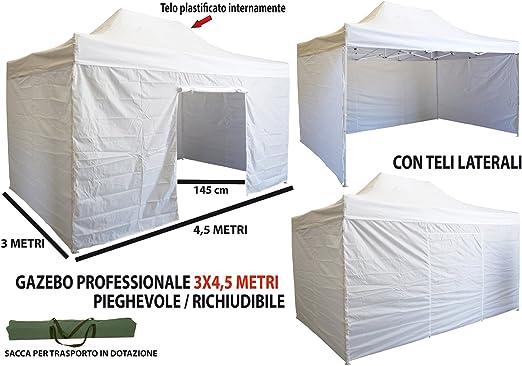 Cenador plegable telescópico, 3 x 4, 5 m, con lonas laterales, color blanco: Amazon.es: Jardín