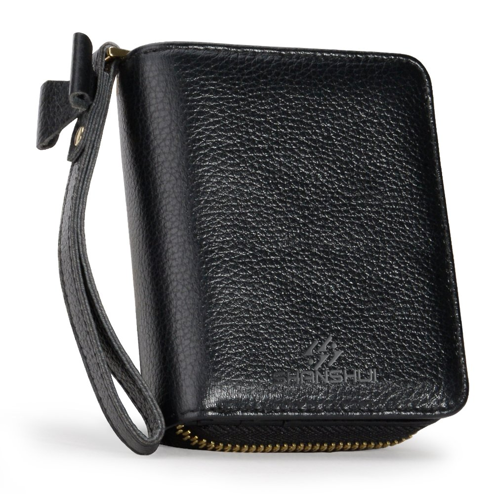 SHANSHUI Women Wallet,RFID Blocking Primely Genuine Leather Credit Card Wallet Zipper Wrist Strap Monther's Day Christmas Gift (Black)