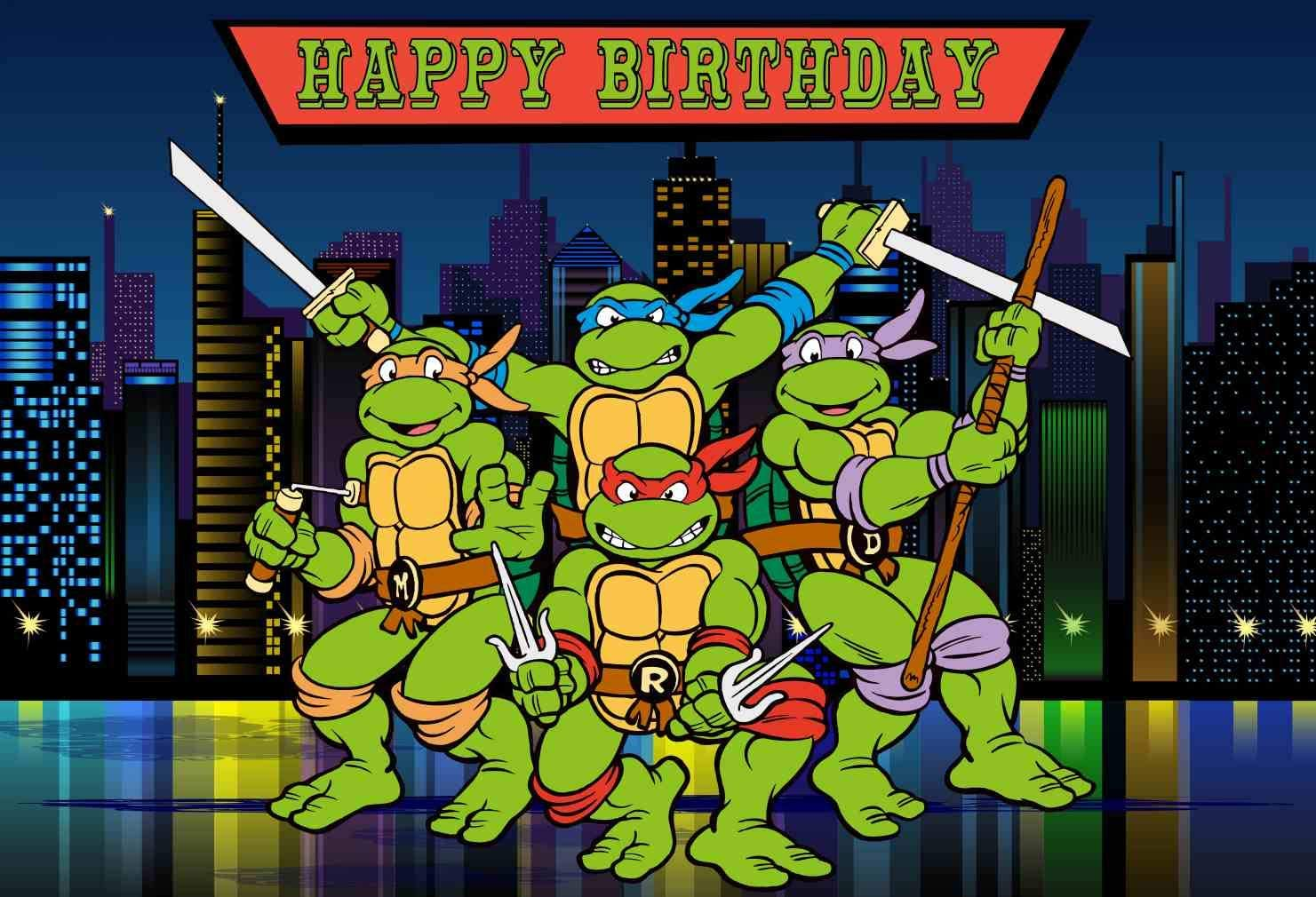 Teenage Mutant Ninja Turtles Birthday Party Backdrop Boys Kids Happy Birthday Banner Cartoon Movie Background for Photography 7x5 ft 29