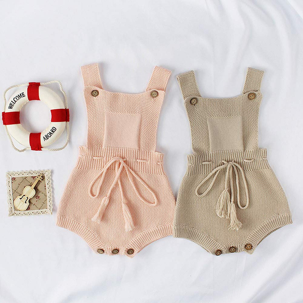 Zerototens Baby Knitted Romper,Newborn Infant Boys Girls Sleeveless Solid Color Knitwear Strap Jumpsuit Clothes Casual Outfits 0-18 Months