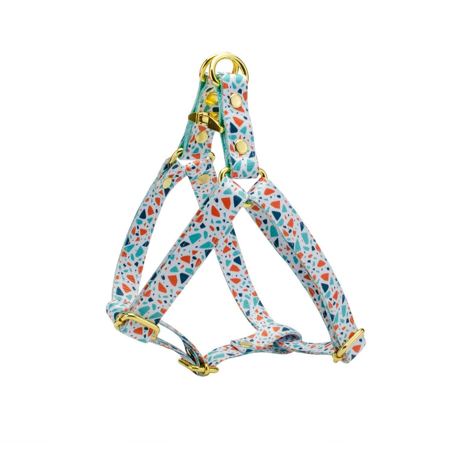 Elegant Terrazzo Print Dog Step In Harness and Leash Set, Adjustable with Gold Metal Hardware - Handmade Designer Harnesses for X-Small, Medium, X-Large Dogs