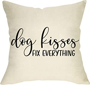 Fbcoo Dog Kisses Fix Everything Decorative Throw Pillow Cover, Rustic Farmhouse Quotes Pet Cushion Case Decor for Dog Lover, Home Square Pillowcase Decorations for Sofa Couch 18 x 18 Inch Cotton Linen