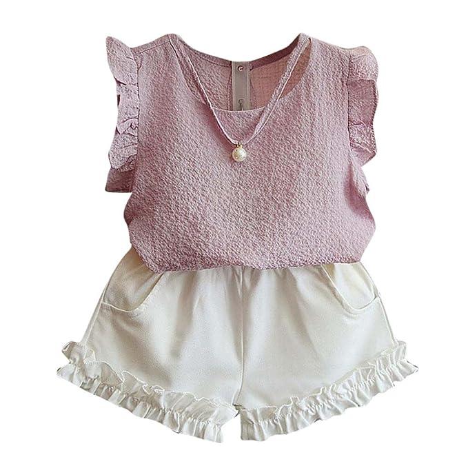 feiXIANG Ropa para bebés Ropa de bebé para niña recién Nacida Ropa de niña para bebé Manga voladora Perla Colgante Camiseta Top + Pantalones Cortos: ...